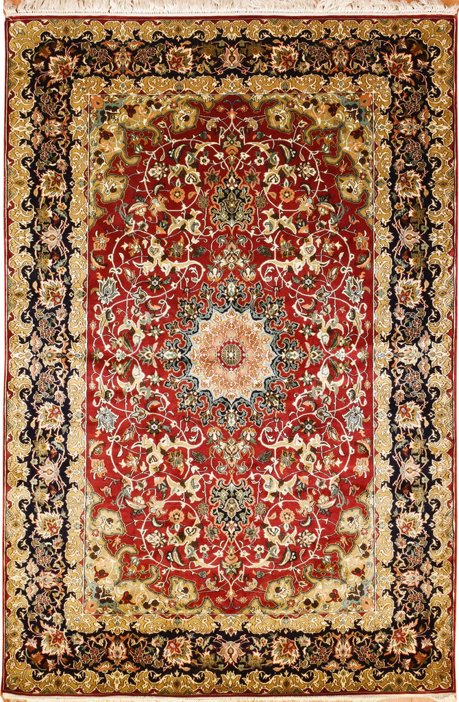 6'x4' Red Kashan Pure Silk Area Rug Carpet Medallion Oriental Hand Knotted - KashmirDesigns