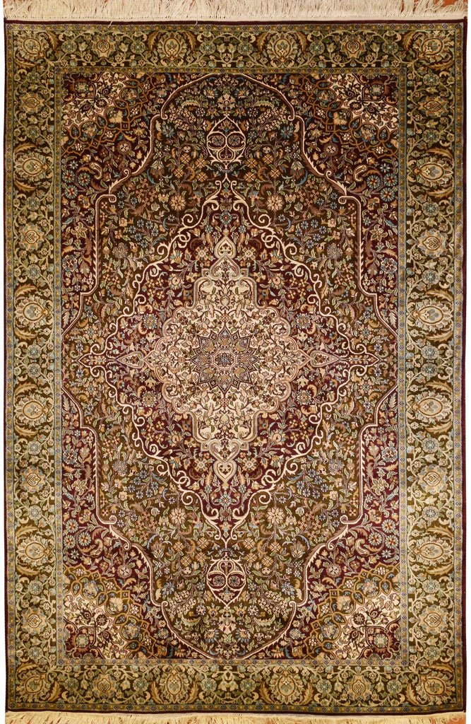 6'x4' Kashan Pure Silk Area Rug Carpet Two Tone Medallion Oriental Hand Knotted - KashmirDesigns