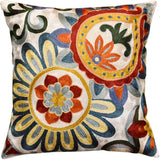 Suzani Daisy Elements Ivory Decorative Pillow Cover Handmade Art Silk 18x18