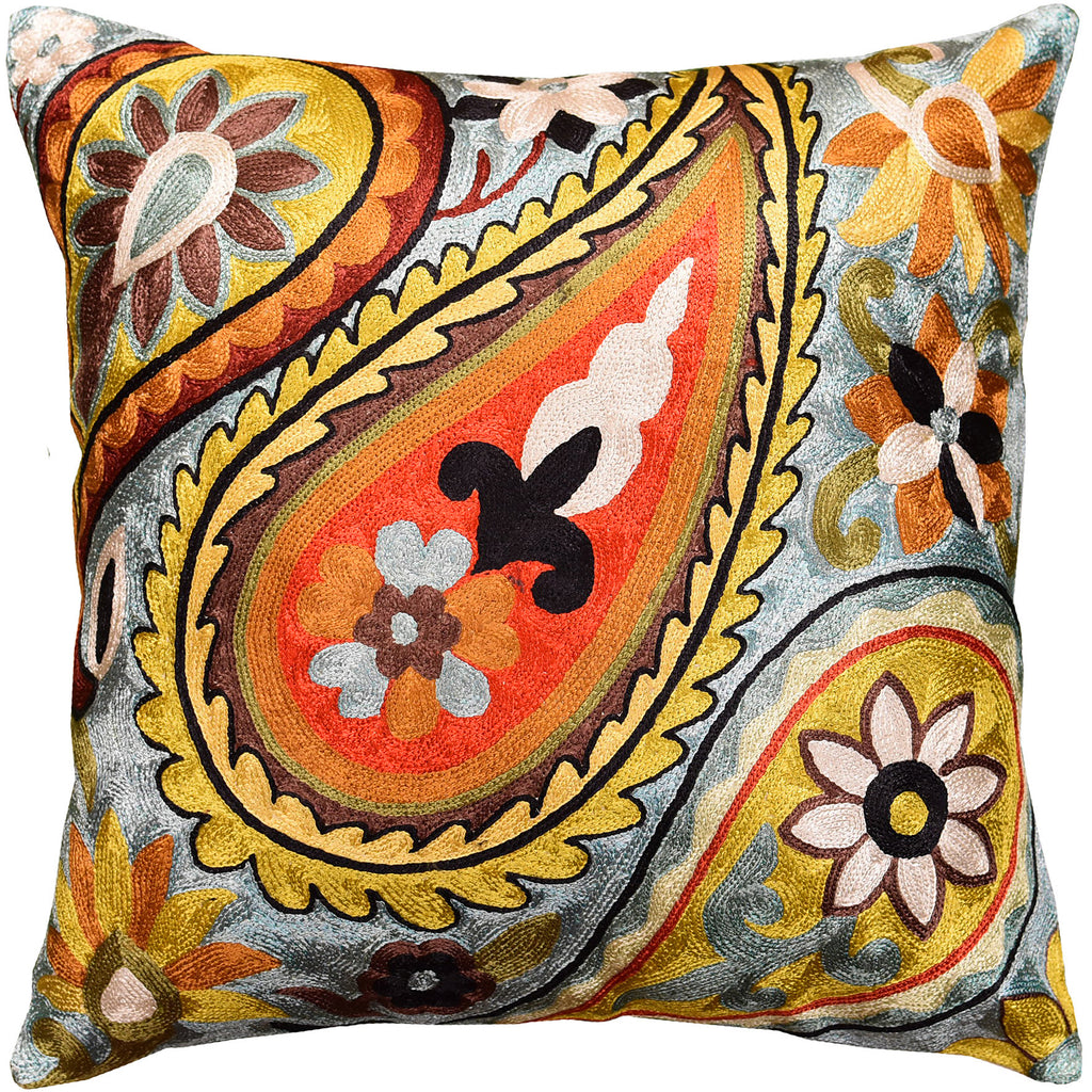 "Suzani Paisley Turquoise Accent Pillow Cover Handembroidered Art Silk 18x18"" - KashmirDesigns"