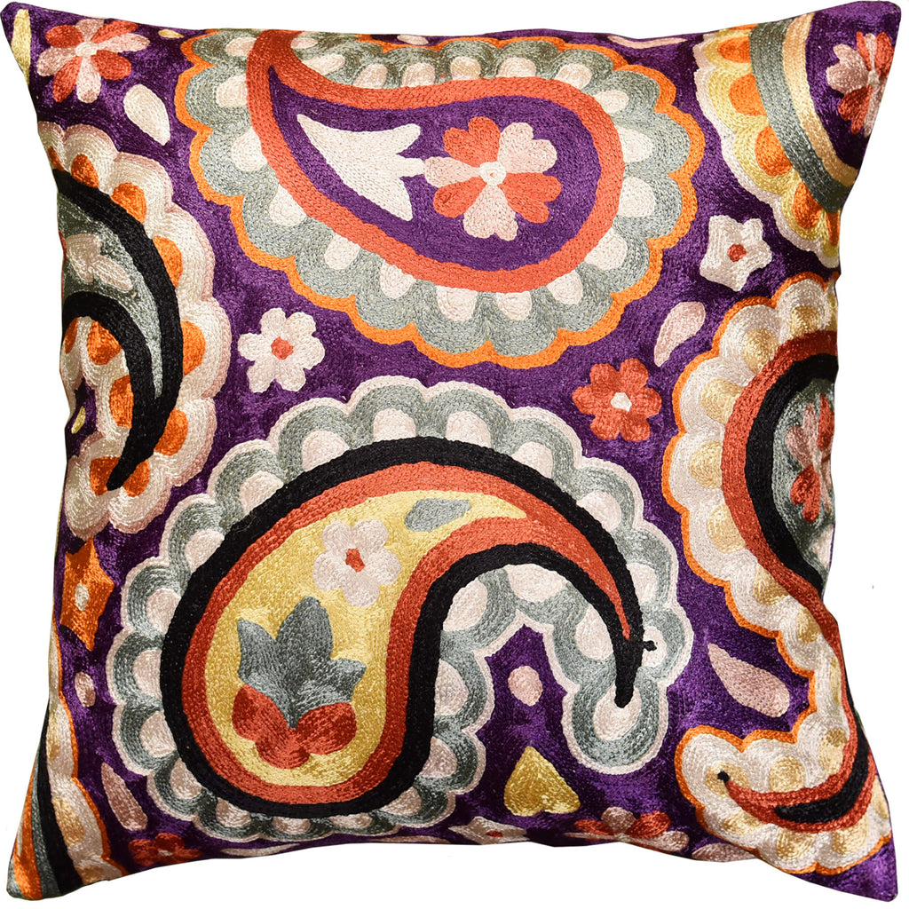 "Suzani Paisley Violet Purple Decorative Pillow Cover Handmade Art Silk 18x18"" - KashmirDesigns"