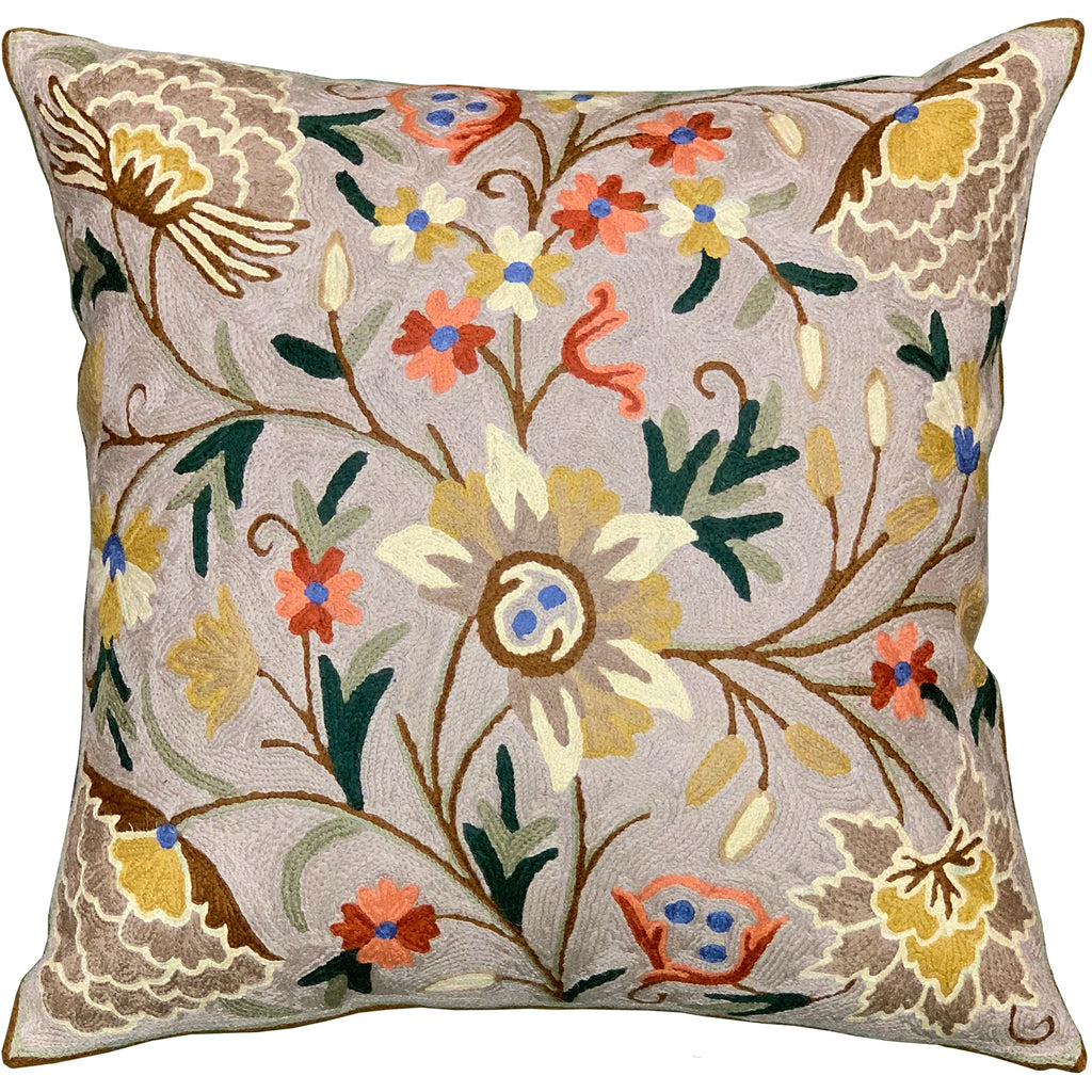 "Suzani Pillow Cover Taupe Dahlia Decorative Floral Wool Hand embroidered 18x18"" - KashmirDesigns"