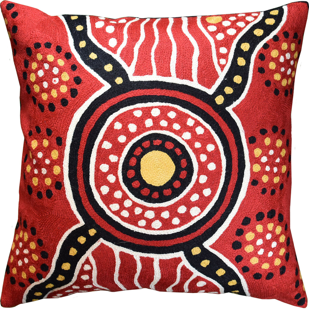 Suzani Tribal Red Medallion Decorative Pillow Cover Handembroidered