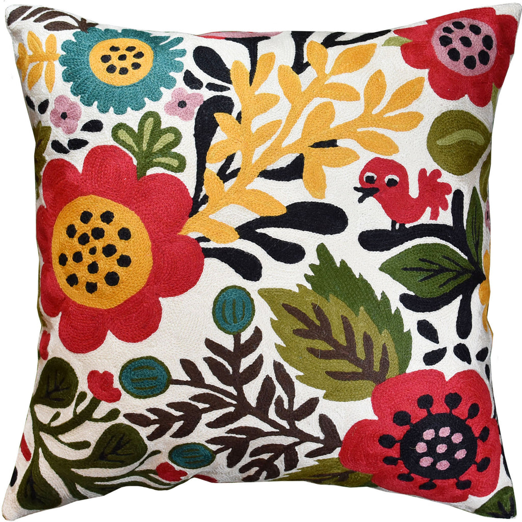 "Suzani Red Bird Floral Bloom Decorative Pillow Cover Handembroidered Wool 18x18"" - KashmirDesigns"