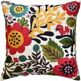 Suzani Red Bird Floral Bloom Decorative Pillow Cover Handembroidered Wool 18x18