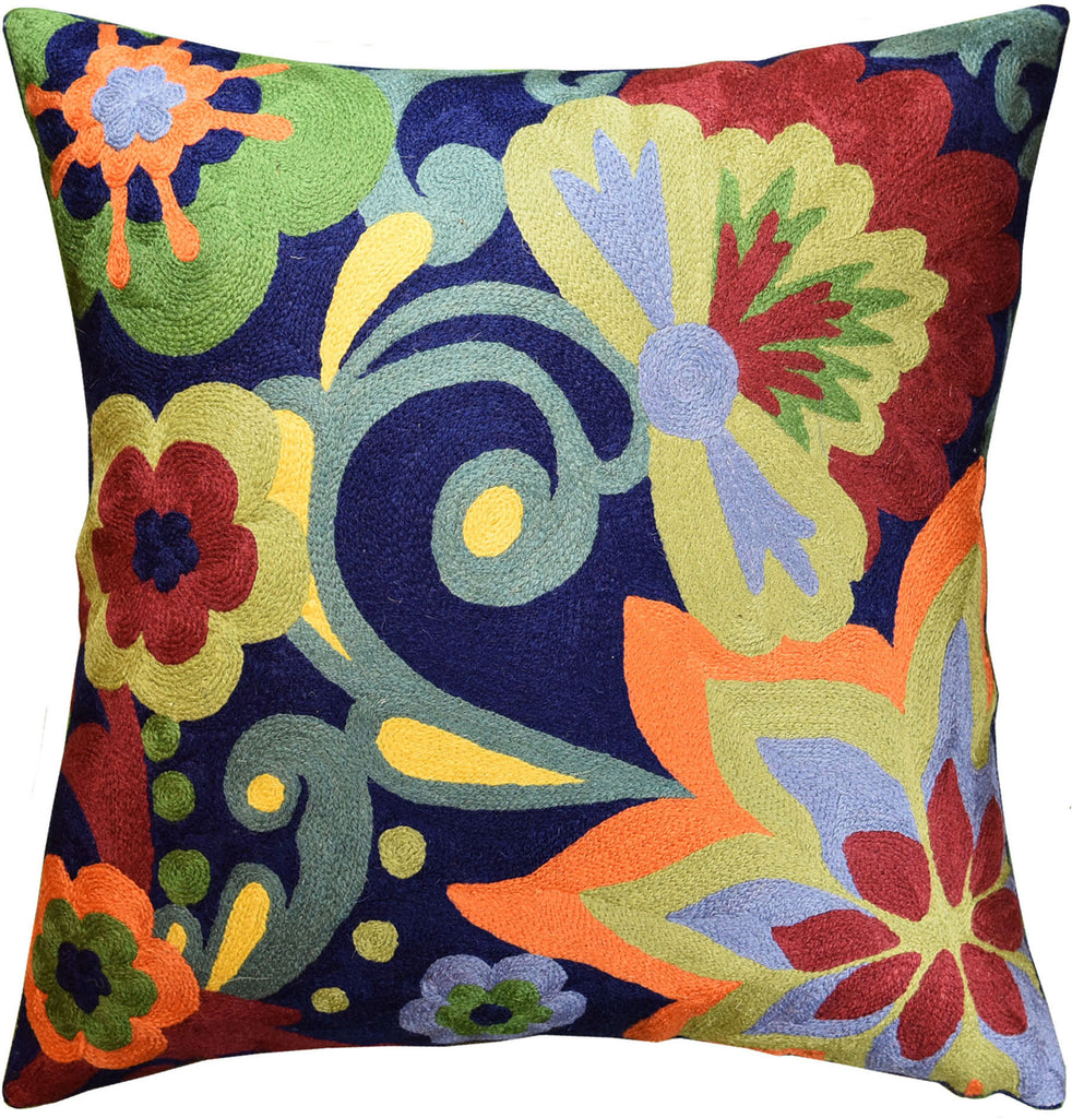 "Suzani Floral Bloom Navy Decorative Pillow Cover Handembroidered Wool 18x18"" - KashmirDesigns"