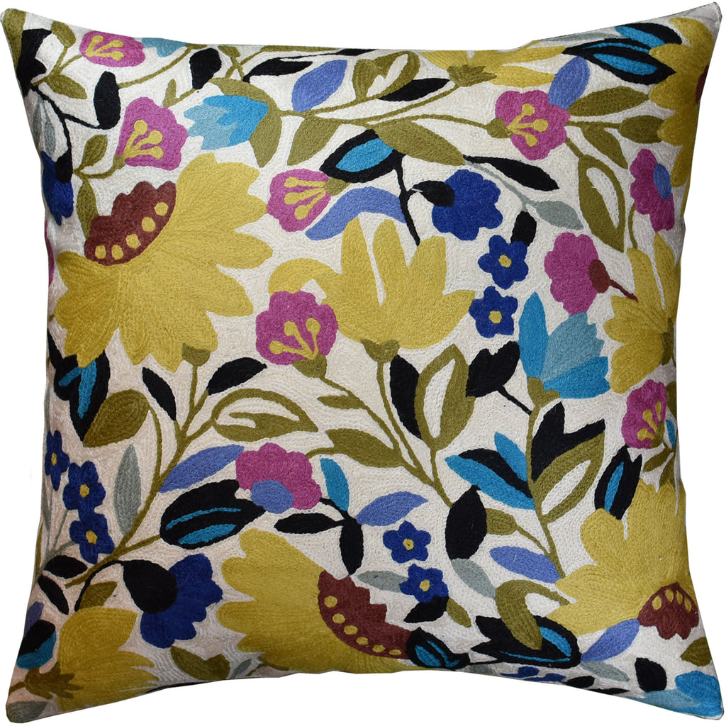 "Suzani Yellow Floral Bloom Decorative Pillow Cover Handembroidered Wool 18x18"" - KashmirDesigns"