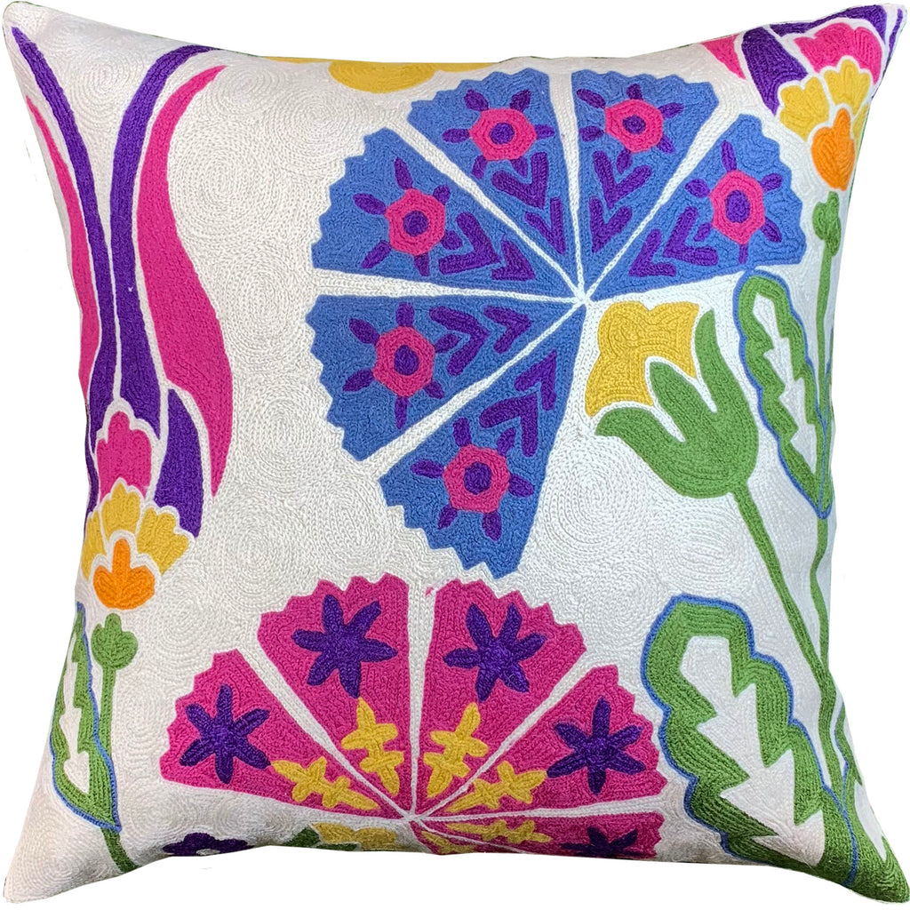 "Suzani Tulip Bohemian Floral Decorative Pillow Cover Handembroidered Wool 18x18"" - KashmirDesigns"