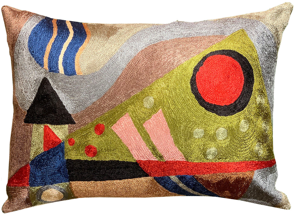 "Lumbar Kandinsky Decorative Pillow Cover Composition VII Handmade Silk 14x20"" - KashmirDesigns"