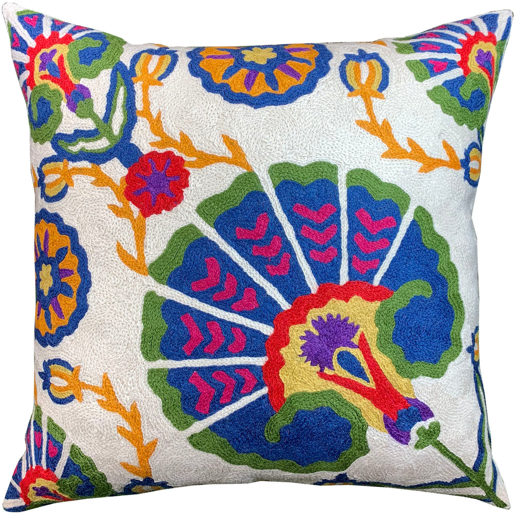 "Suzani Floral Medallion Bloom Bohemian Pillow Cover Handembroidered Wool 18x18"" - KashmirDesigns"