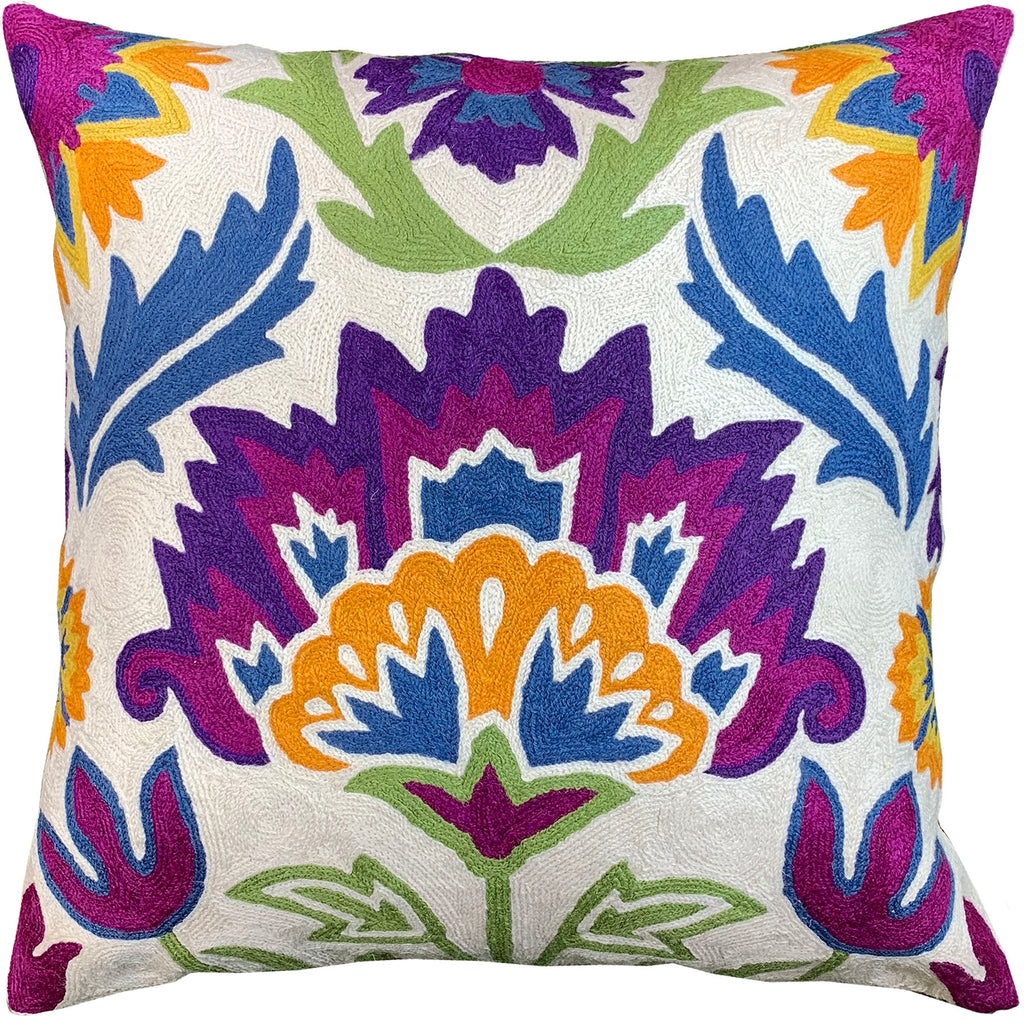 "Suzani Bohemian Flower Ivory Decorative Pillow Cover Handembroidered Wool 18x18"" - KashmirDesigns"