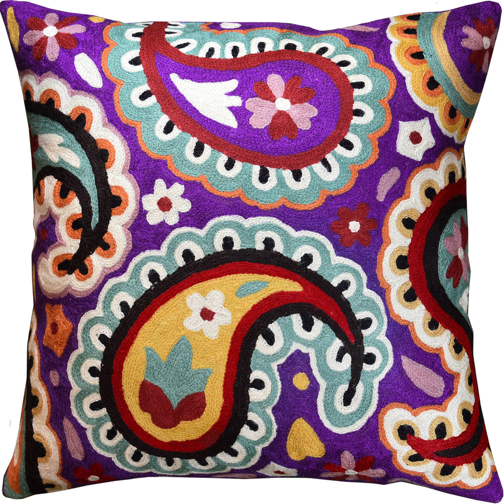 "Suzani Daisy Bloom Decorative Pillow Cover Handembroidered Wool 18x18"" - KashmirDesigns"