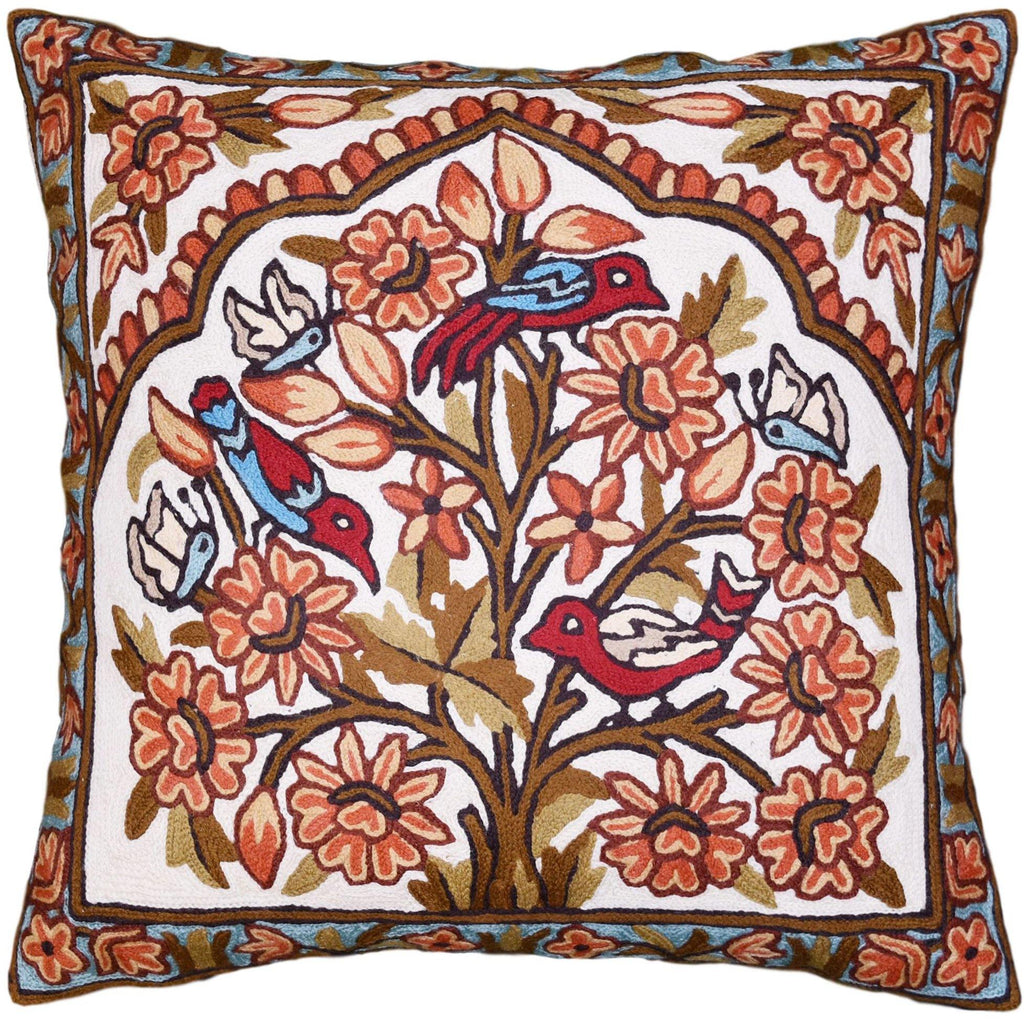 Bird & Butterflies Decorative Pillow Cover Gold Tree of Life Handembroidered Wool 18x18