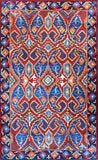 Tribal 3ftx5ft Paisley Blue Red Southwestern Wall Hanging Tapestry Rug Art Silk