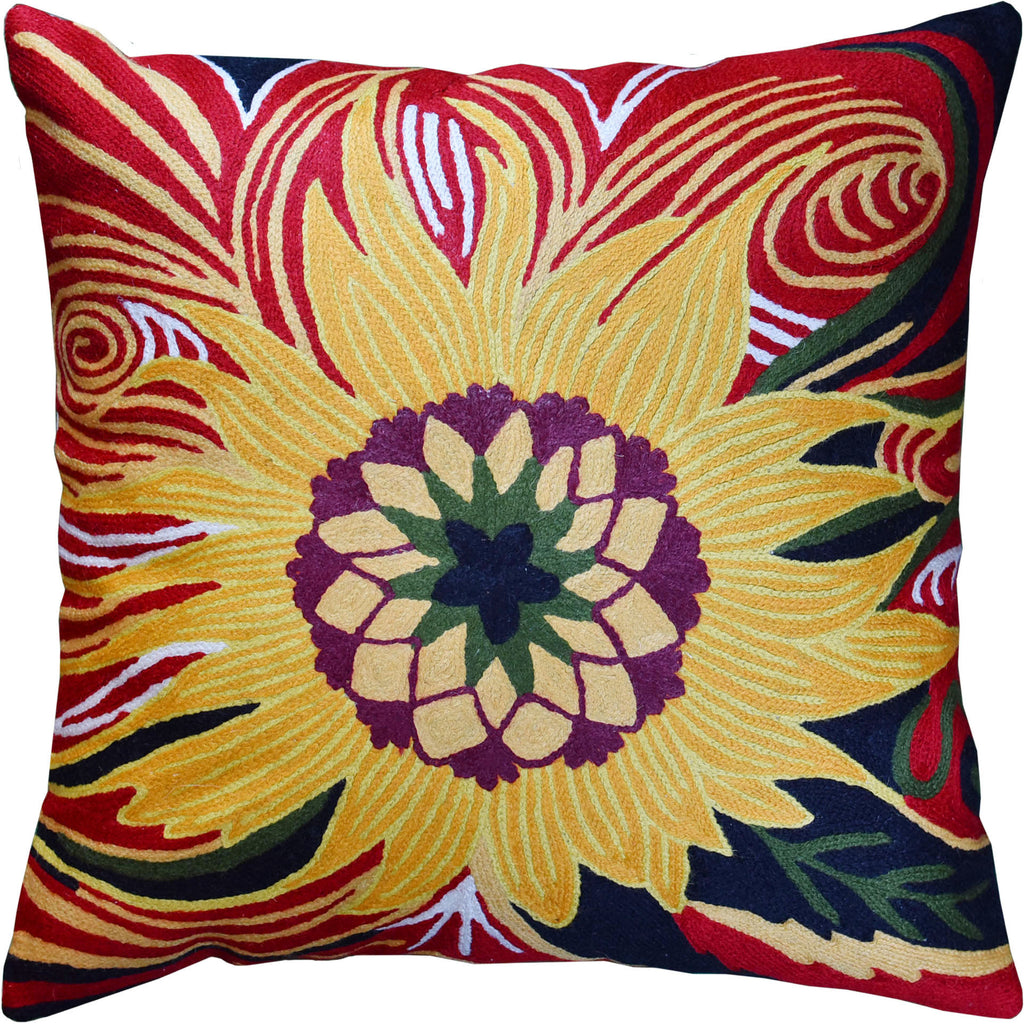 "Van Gogh Sunflower Waves Decorative Pillow Cover Handembroidered Wool 18x18"" - KashmirDesigns"