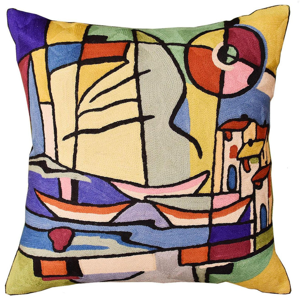 "Americana North Atlantic by Alfred Gockel Accent Pillow Cover Wool 18""x18"" - KashmirDesigns"