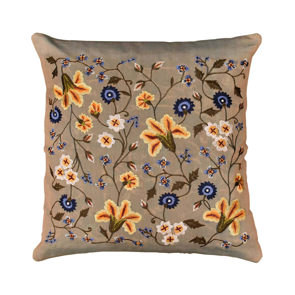 "Tropica Beige Floral Design Decorative Cotton Pillow Cover Embroidered 17""x17"" - KashmirDesigns"