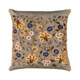 Tropica Beige Floral Design Decorative Cotton Pillow Cover Embroidered 17