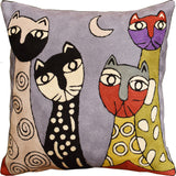 Picasso Gray Cats Quadruplets Accent Pillow Cover Handembroidered Wool 18x18