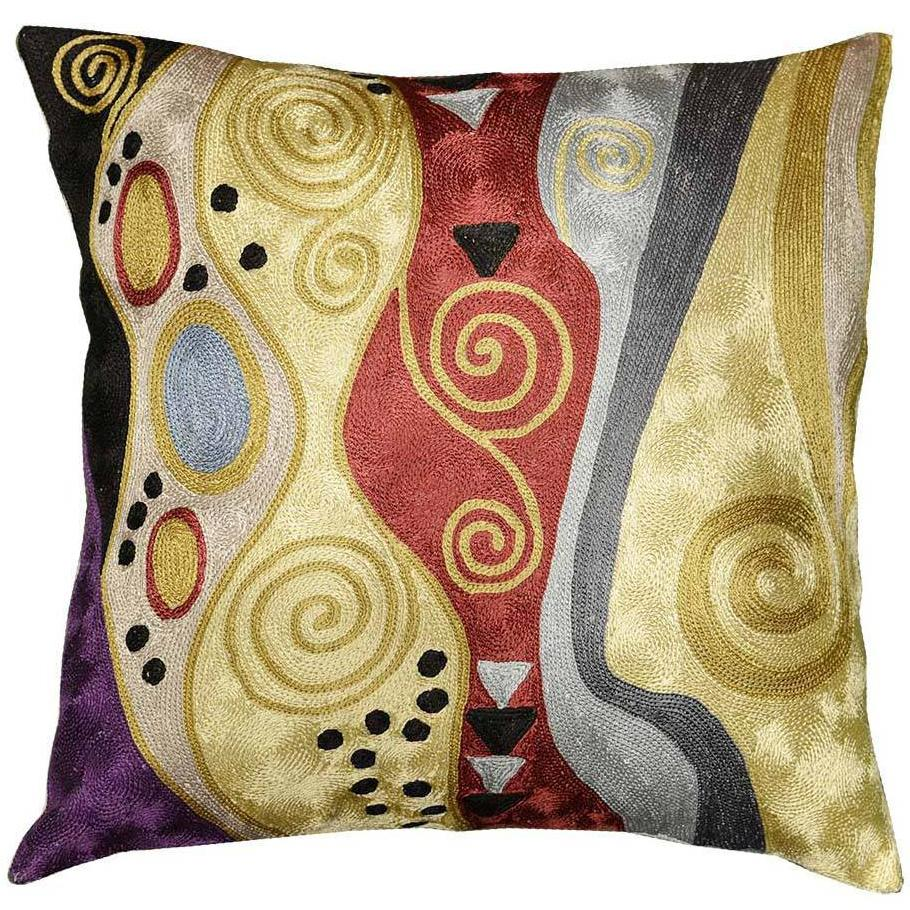 "Klimt Tree Of Life Accent Pillow Cover Silk Hand Embroidered 18"" x 18"" - KashmirDesigns"