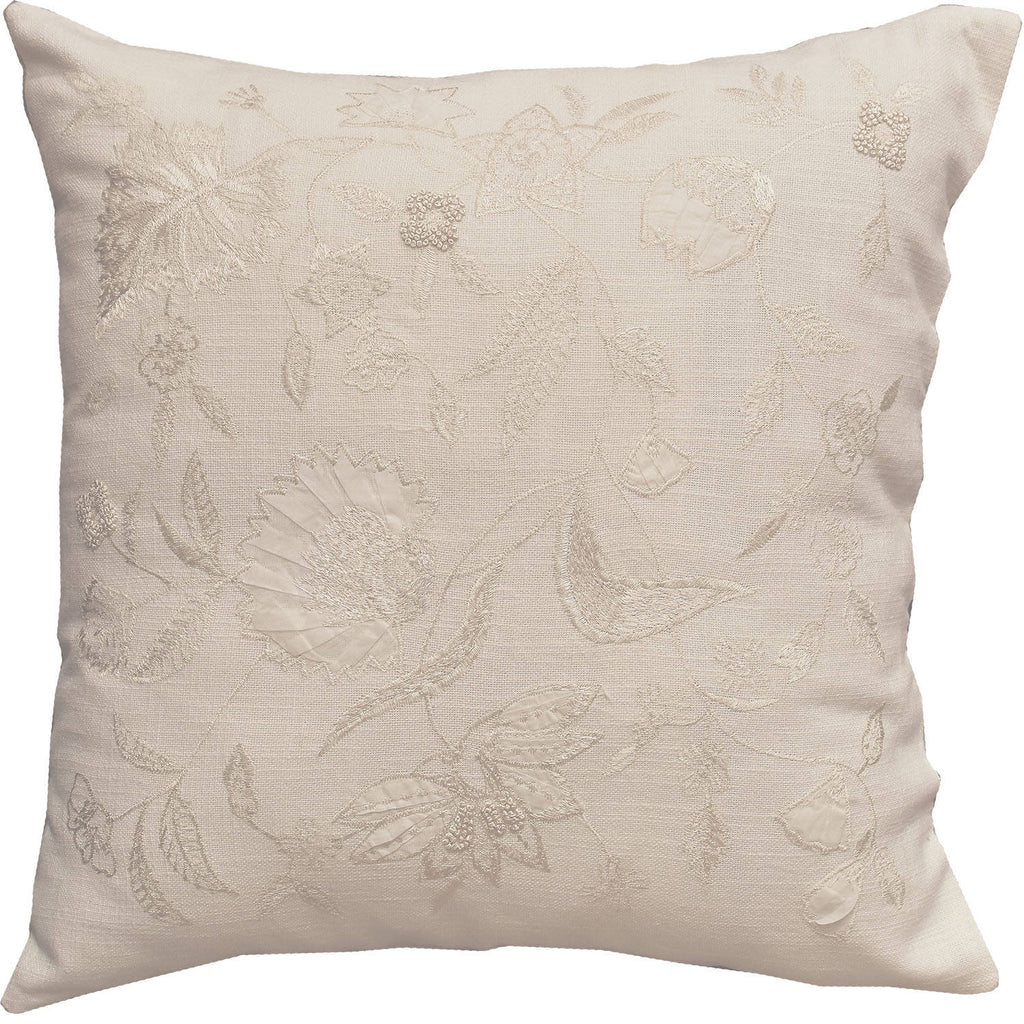 "Jacobian Natural Floral Design Accent Cotton Pillow Cover Embroidered 18""x18"" - KashmirDesigns"