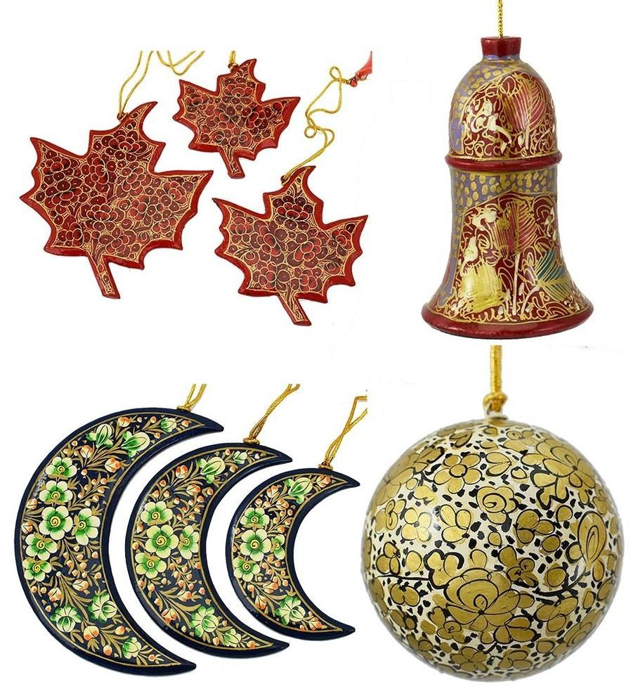 Christmas Ornaments Holiday Decorations Ball, Bell, Maple and Moon Set handmade - KashmirDesigns