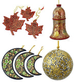 Christmas Ornaments Holiday Decorations Ball, Bell, Maple and Moon Set handmade
