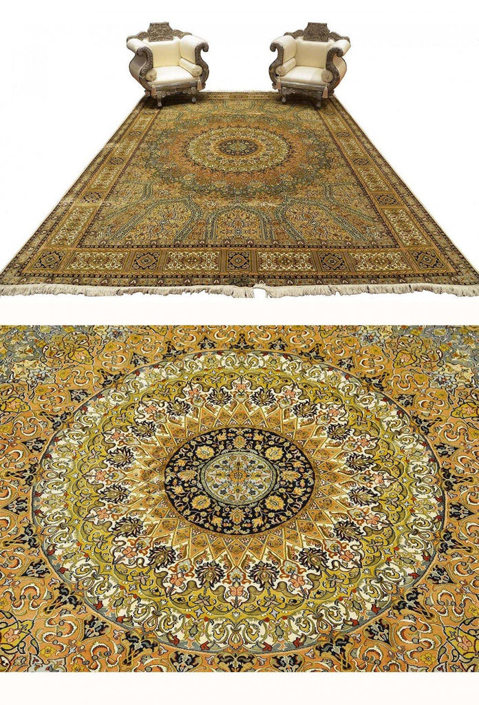 9x12ft Arabesque Silk Rug Dome design Oriental Silk on Silk Rug Hand knotted