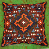 Tribal Brown Orange Blue Wool Decorative Pillow hand embroidered