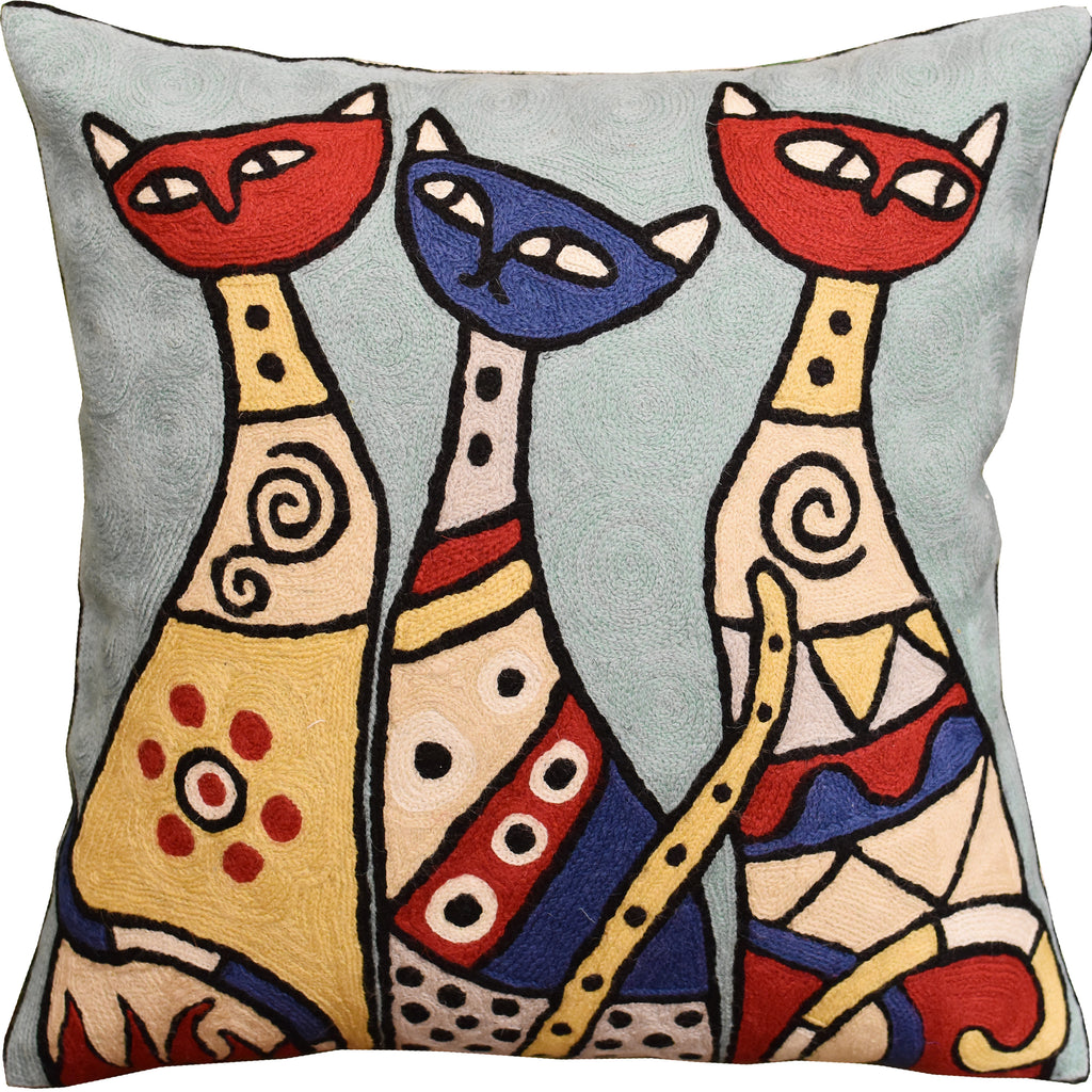 "Cute Cats Light Turquoise Decorative Pillow Cover Triplets Handmade Wool 18x18"" - KashmirDesigns"