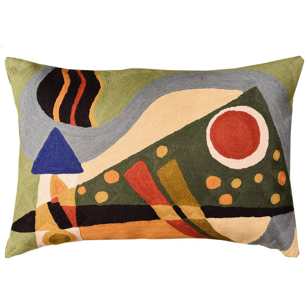 "Lumbar Kandinsky Throw Pillow Composition VII Green Hand Embroidered Wool 14x20"" - KashmirDesigns"