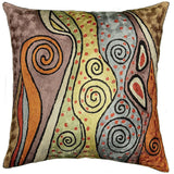 Klimt Accent Pillow Cover Rainbow Silk Hand Embroidered 18