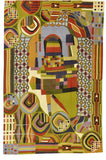 Hundertwasser Wool Rug / Wall Tapestry Hand Embroidered 6ft x 4ft