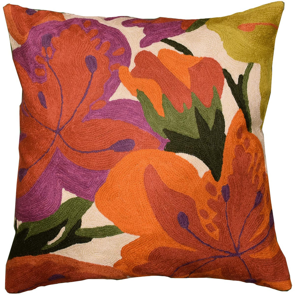 "Floral Bloom Modern Accent Pillow Cover Hand Embroidered Wool 18x18"" - KashmirDesigns"