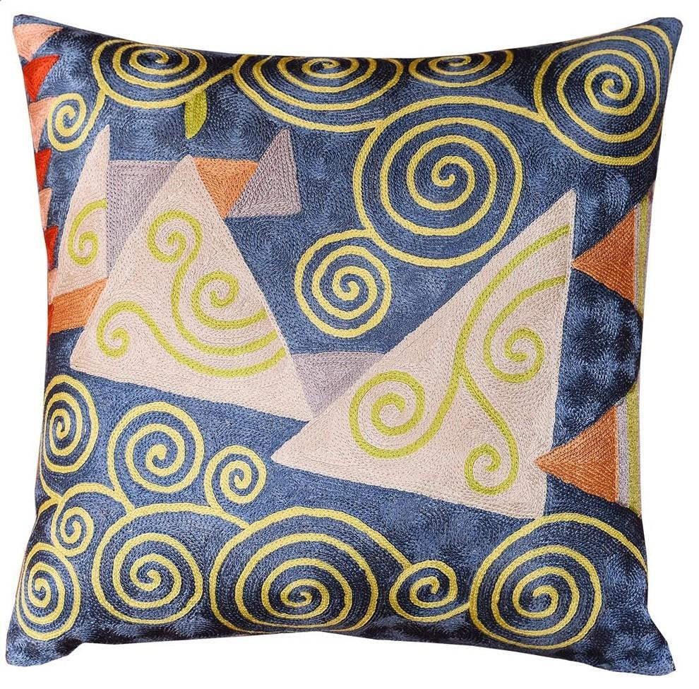 "Klimt Cushion Cover Blue Jewel Tree IV Silk Hand Embroidered, 18""x18"" - KashmirDesigns"