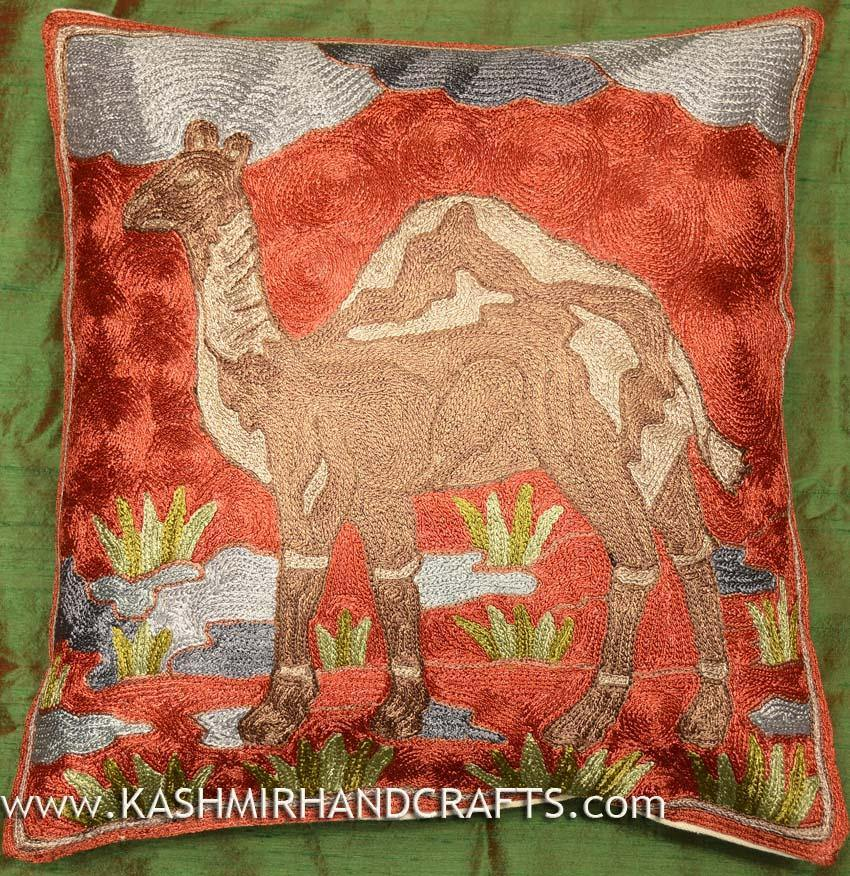 camel pillow cover hand embroidered