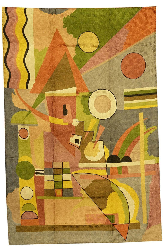 Kandinsky Colorful Composition Silk Modern Rug / Wall Art Hand Embroidered 4ft X 6ft - KashmirDesigns