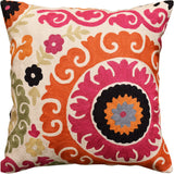 Suzani Decorative Pillow Cover Medallion I Elements Handembroidered Wool 18x18