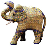 "Blue Decorative Papier Mache Embossed Elephant Sculpture Hand Crafted 22""H"