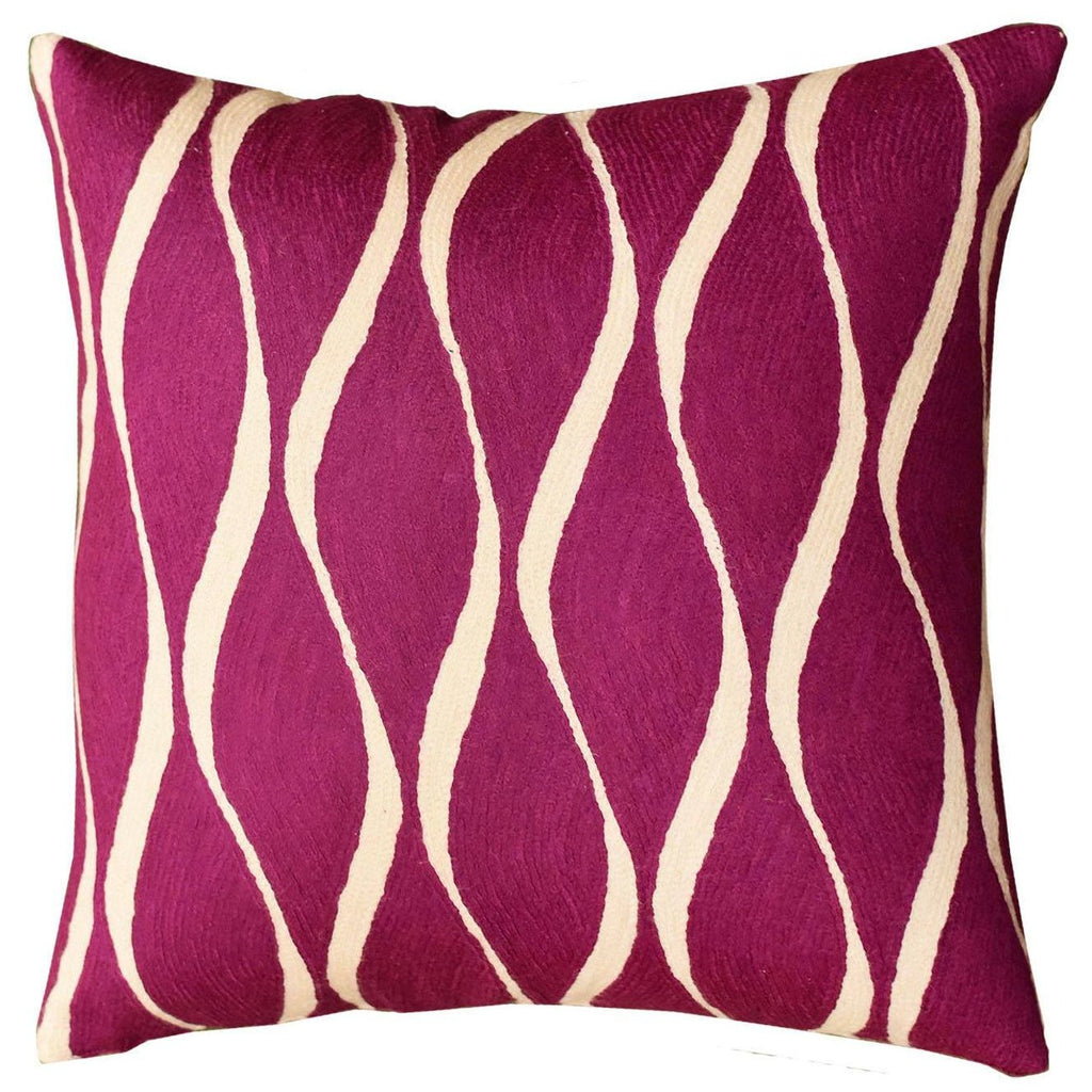"Contemporary Waves Tyrian Purple Decorative Pillow Cover Handmade Wool 18"" x 18"" - KashmirDesigns"