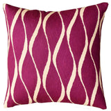 Contemporary Waves Tyrian Purple Decorative Pillow Cover Handmade Wool 18
