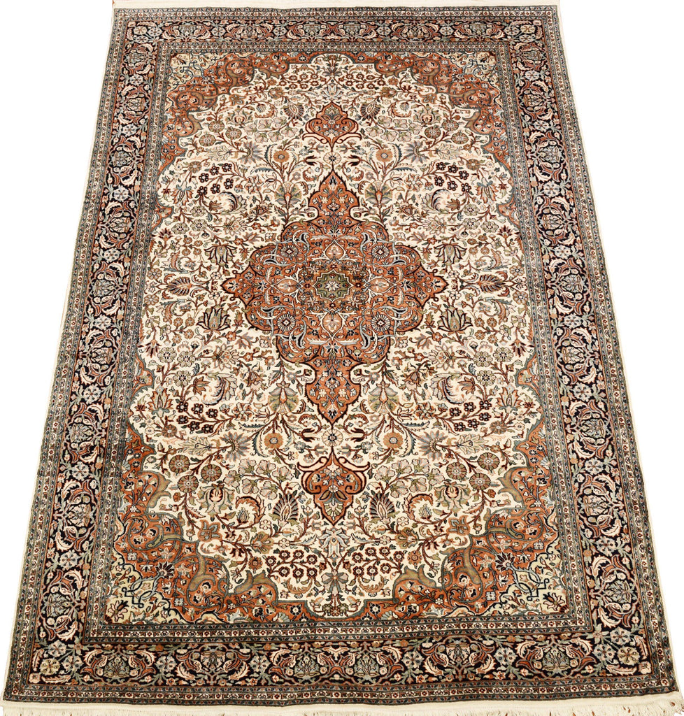 6x9ft Isfahan Silk Rug Cream White Oriental Carpet Medallion Kashmir Hand Knotted