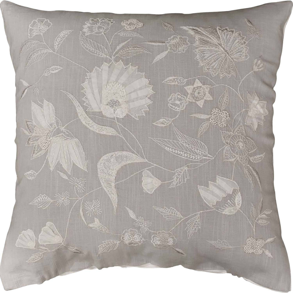 "Jacobian Grey Floral Design Decorative Cotton Pillow Cover Embroidered 18""x18"" - KashmirDesigns"