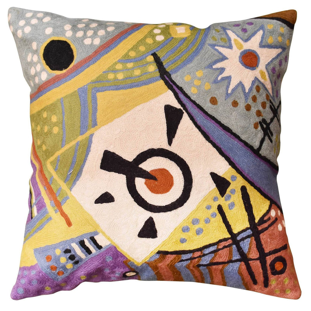 "Kandinsky Cushion Cover Cosmic Decorative Hand Embroidered Wool 18x18"" - KashmirDesigns"