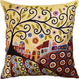 Blooming Village Karla Gerard Accent Pillow Cover Handembroidered Wool 18