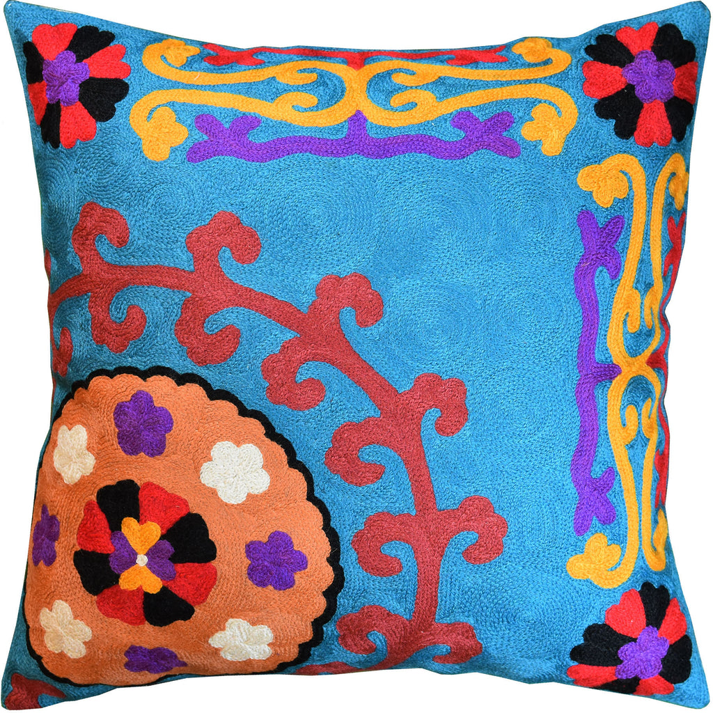 "Bright Turquoise Floral Bohemian Suzani Toss Pillow Cover Handmade Wool 18x18"" - KashmirDesigns"