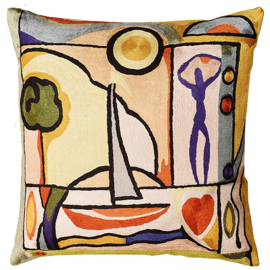 "Fun in the Sun II by Alfred Gockel Accent Pillow Cover Handmade Art Silk 18"" x 18"" - KashmirDesigns"