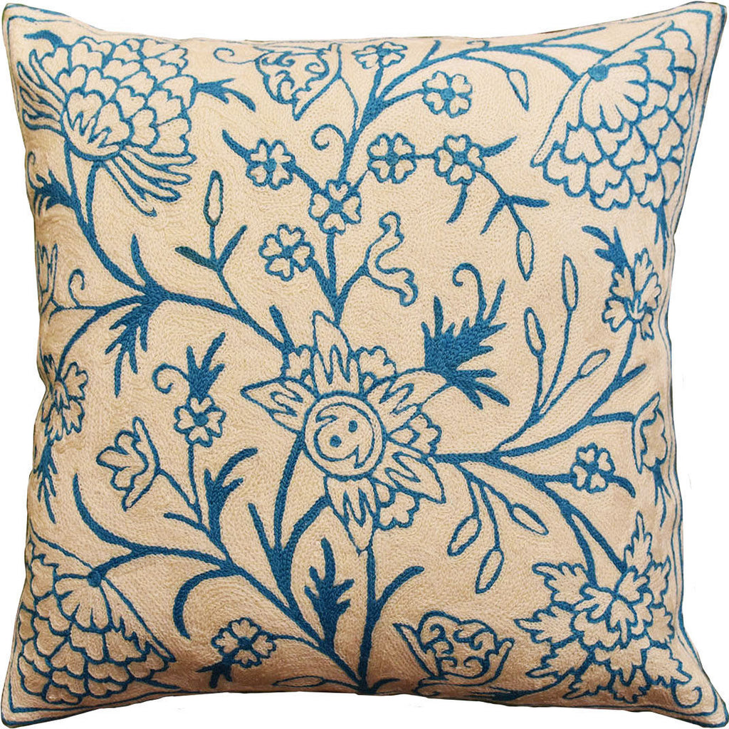 "Floral Bloom Ivory Turquoise Decorative Pillow Cover Handembroidered Wool 18x18"" - KashmirDesigns"