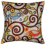 Klimt Tree Of Life Birds Blue Throw Pillow Cover Hand Embroidered 18