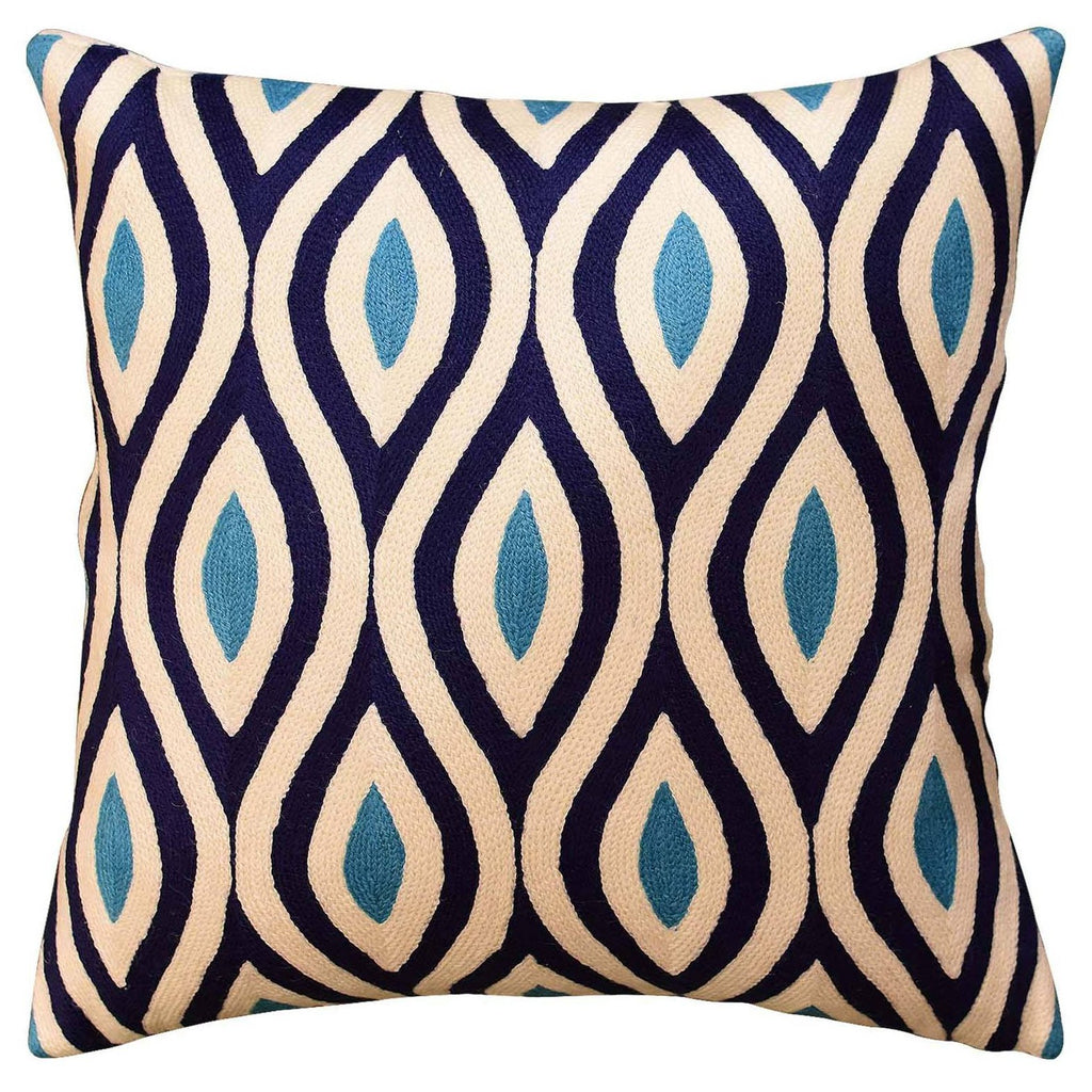 "Contemporary Seamless Navy Turquoise Decorative Pillow Cover HandmadeWool 18""x18"" - KashmirDesigns"